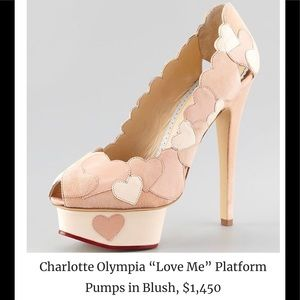 $1,450~CHARLOTTE OLYMPIA~Heart LOVE ME Pumps~7.5/8
